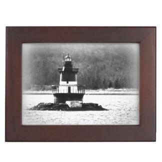 ロードアイランドのプラムビーチの灯台BWの記念品箱 ジュエリーボックス