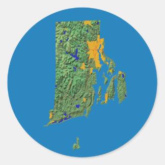 ロードアイランドの地図のステッカー ラウンドシール