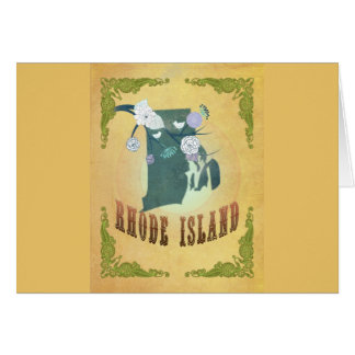 ロードアイランドの州の地図のパッションフルーツの黄色 カード