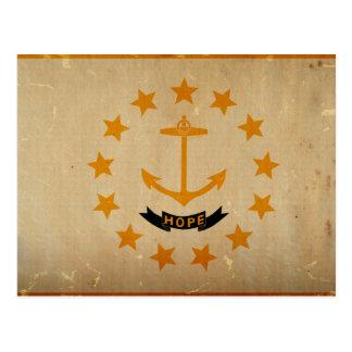 ロードアイランドの州の旗のヴィンテージ ポストカード