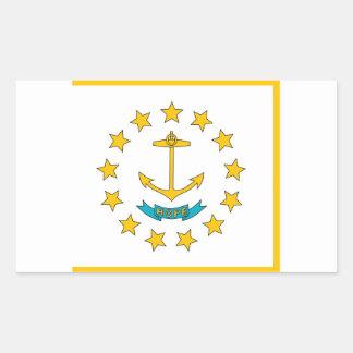 ロードアイランドの旗が付いている長方形のステッカー 長方形シール