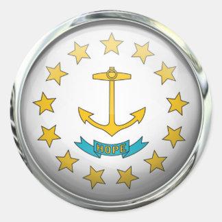 ロードアイランドの旗のガラス玉 ラウンドシール