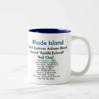 ロードアイランドの記号及び地図 ツートーンマグカップ