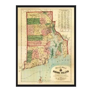 ロードアイランド及びプロヴィデンスのプランテーション地図(1880年) キャンバスプリント