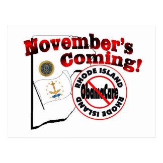 ロードアイランド反オバマケア- 11月の来ること! ポストカード
