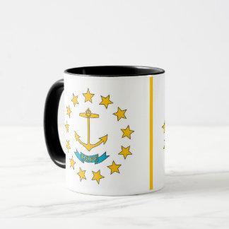 ロードアイランド、米国の旗が付いている黒いコンボのマグ マグカップ