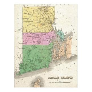 ロードアイランド(1827年)のヴィンテージの地図 ポストカード