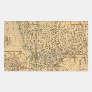 ロードアイランド(1875年)のヴィンテージの地図 長方形シール