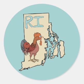 ロードアイランドRIの地図及び漫画の赤い鶏の芸術 ラウンドシール