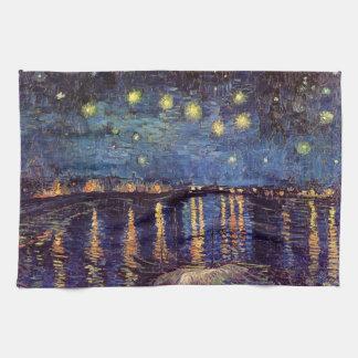 ローヌ上のゴッホの星明かりの夜、ファインアート キッチンタオル
