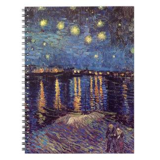 ローヌ上のゴッホの星明かりの夜、ファインアート ノートブック