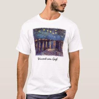 ローヌ上のゴッホの星明かりの夜、ファインアート Tシャツ