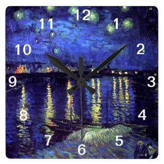 ローヌ上の星明かりの夜、フィンセント・ファン・ゴッホ スクエア壁時計