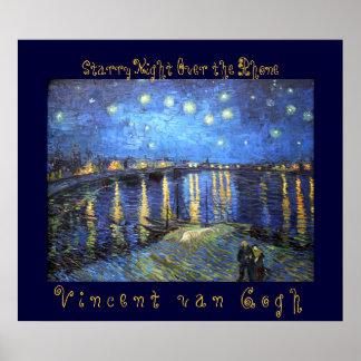 ローヌ上の星明かりの夜: フィンセント・ファン・ゴッホ ポスター