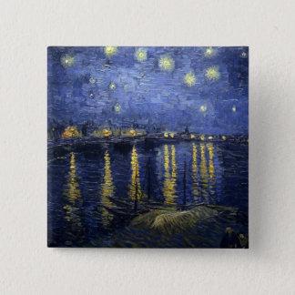 ローヌ上の星明かりの夜 5.1CM 正方形バッジ