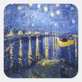 ローヌ猫のステッカー上の星明かりの夜 スクエアシール