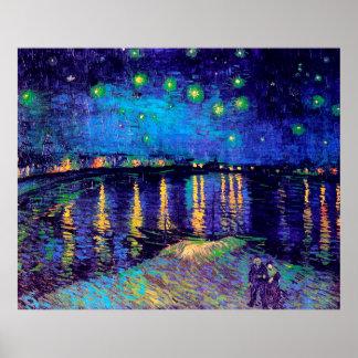 ローヌ(F474)ファインアート上のゴッホの星明かりの夜 ポスター