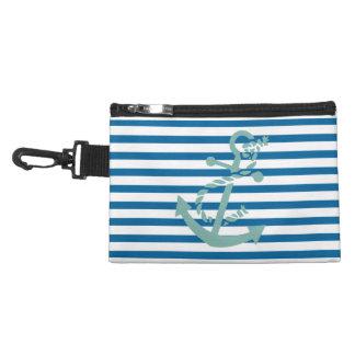 ロープおよびいかりの青および白い横のストライプ アクセサリーバッグ