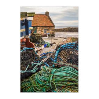 ロープおよびエビ取りかご| Pittenweem、スコットランド アクリルウォールアート