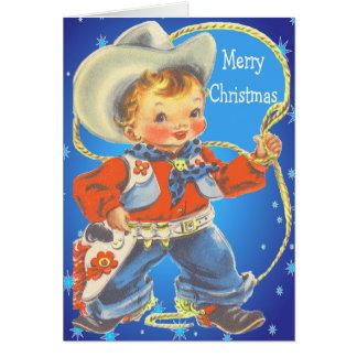 ロープのメリークリスマスの小さいカウボーイ カード