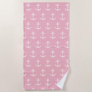 ロープパターン|淡いピンクの航海ののいかり ビーチタオル
