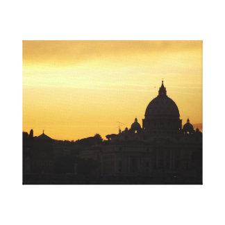 ローマのスカイラインの日没 キャンバスプリント
