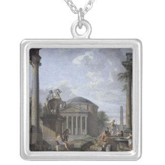 ローマの台なしの景色 シルバープレートネックレス