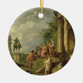 ローマの台なし1743年の中の小作人(キャンバスの油) セラミックオーナメント