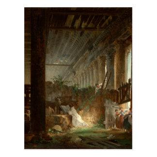 ローマの寺院の台なしで祈っている隠者 ポストカード