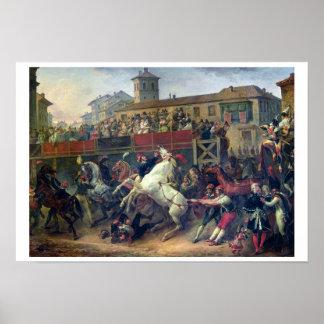 ローマの据えられていない競馬の場面 ポスター