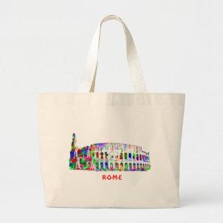 ローマのColosseumのバッグのテンプレート ラージトートバッグ