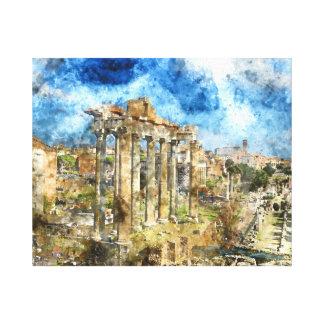 ローマイタリアの古代ローマの台なし キャンバスプリント