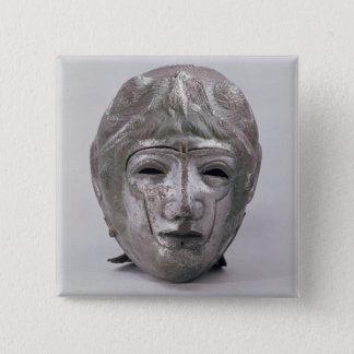ローマワシの装飾が付いているヘルメット(銀) 5.1CM 正方形バッジ