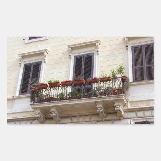 ローマ市のロマンチックなバルコニー 長方形シール
