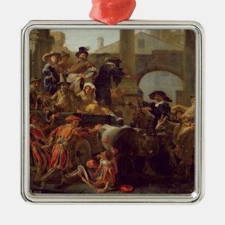 ローマ1653年のカーニバルの時間(キャンバスの油) メタルオーナメント