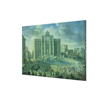 ローマ1753-56年のTreviの噴水 キャンバスプリント