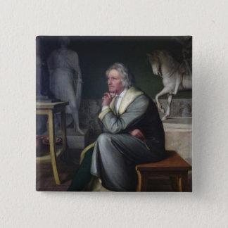 ローマ1834年の彼のスタジオのバーテルThorvaldsen 5.1cm 正方形バッジ