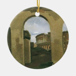 ローマ、イタリアのアーケードを通して見られるColosseum セラミックオーナメント