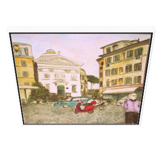 ローマ、イタリアの広場 キャンバスプリント