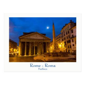 ローマ-文字が付いている満月の郵便はがきのパンテオン ポストカード
