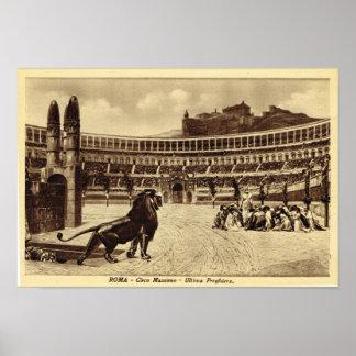 ローマColosseum、クリスチャンおよびライオン ポスター