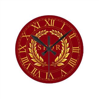 ローマSPQRの柱時計 ラウンド壁時計