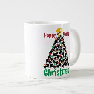 ローラーのダービーのクリスマス、ローラースケートで滑る ジャンボコーヒーマグカップ