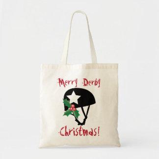 ローラーのダービーのクリスマス、ローラースケートで滑る トートバッグ