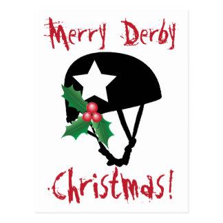 ローラーのダービーのクリスマス、ローラースケートで滑る ポストカード