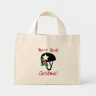 ローラーのダービーのクリスマス、ローラースケートで滑る ミニトートバッグ