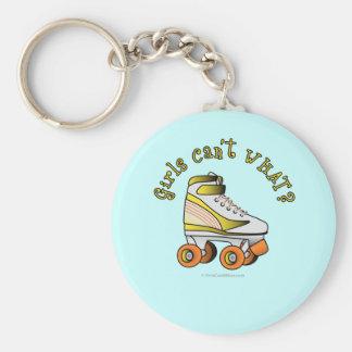 ローラーのダービーのスケート-黄色 キーホルダー