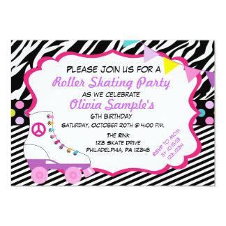ローラースケートで滑るのパーティーのシマウマの誕生日の招待状 カード