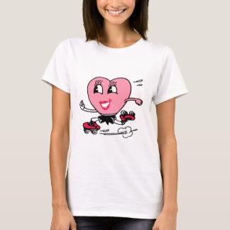 ローラースケートのピンクのハート Tシャツ