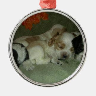 ローンのコッカースパニエルの子犬。 昼寝の時間! メタルオーナメント